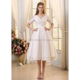 ウェディングドレス ヴィンテージショートティーレングスウェディングドレスハーフスリーブブライダルドレス