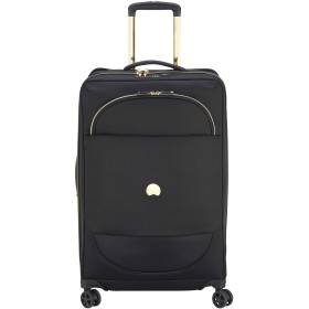 Delsey デルセー MONTROUGE ソフトスーツケース キャリーバッグ ソフトキャリーケース 超軽量 容量拡張可能 機内持ち込みサイズ/mサイズ/lサイズ 5年間保証 76L&ブラック