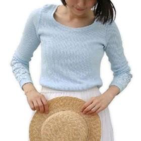 (ワールド) ワッフル素材 袖レースモチーフ付き カットソー Tシャツ 伸びる オールシーズンOK コットン100% レディース (ライトブルー, S)