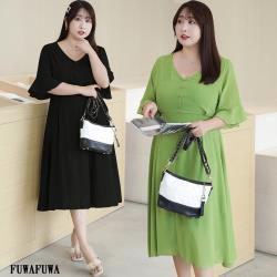 FUWAFUWA-  加大尺碼法式氣質純色雪紡短袖洋裝