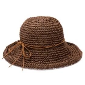 Primavera 麦わら帽子 ストローハット レディース 折りたたみ 帽子 紫外線対策 UVカット (こげ茶)