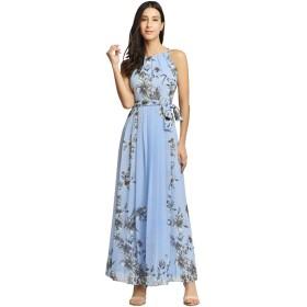 春と夏 大きいサイズの婦人服 スカート レディース ワンピース 花柄 袖なし ボヘミアン風 旅行 透け感 美脚 柔らかい 二次会 日常 普段着可 カジュアル 人気 着心地がいい ドレス お洒落 可愛い シンプル パーティー キレイ ファション S-2XL (XL, ブルーい布ベルト)