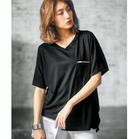 ジーラ ジップポケットサイドタックゆるTシャツ レディース ブラック LL 【GeeRa】