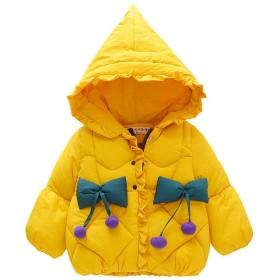 [HSFEO]ダウンジャケット 女の子 1-3歳 冬 かわいい フード付き 中綿コート 厚手 暖かい 防寒 防風 ソフト カジュアル 普段着 アウトドア プレゼント アウター 無地 イエロー 105CM