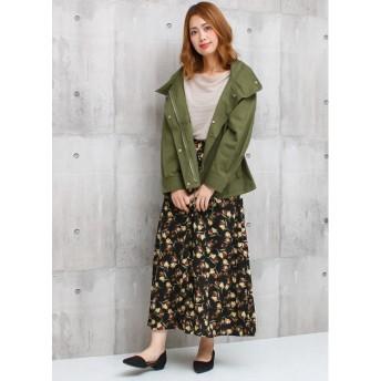 ロングスカート - Social GIRL レトロフラワーフレアスカート/フロントボタン ロングスカート 花柄