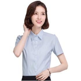 半袖 シャツ レディース 開襟シャツ ボタン 紐 ゆったり 簡単 事務服 クールビ 大きいサイズ 夏 縞模様 ダブルカラー-ブルー M