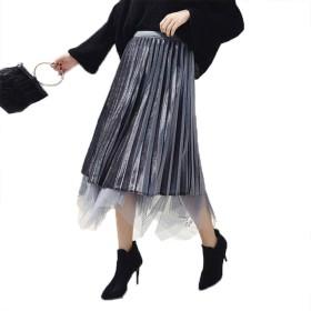 [YOUHA] スカート レディース リバーシブルベロアチュールスカート ひざ丈 ウエストゴム ロングスカート チュールスカート (グレー)