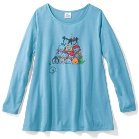 [ベルメゾン] ディズニー Tシャツ レディース 裾フレア 長袖 チュニック Tシャツ ツムツム ライトブルー 3L