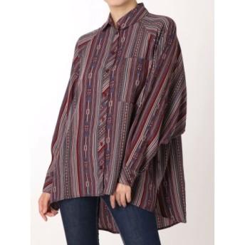 (GYDA/ジェイダ)irregular stripe pattern BIG シャツ/レディース ブルー 送料無料