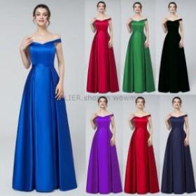 ウェディングドレス オフショルダービーズサテンイブニングウエディングドレス女性ロングフォーマルパーティードレス