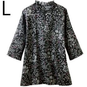 チュニック レディース 春夏 花柄 涼やかローンオーバーブラウス M-LL (ブラック L)