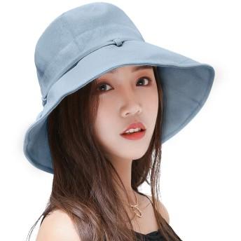 レディースハットバイザー 帽子 キャップ レディース ワイヤ入り 紫外線対策 UVカット折りたたみ 日よけ 人気 おしゃれ 春 夏 秋 あご紐付き サイズ調節可 女優帽子 つば広 (グレーブルー)