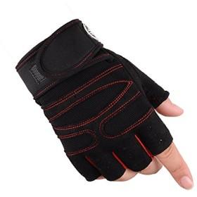 ハーフフィンガー 通気性 滑り止め uウエイトリフティング トレーニング手袋 (黒, L)