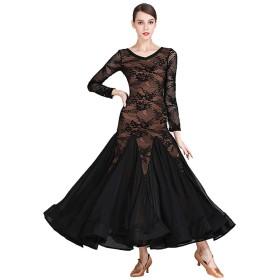 パースペクティブモダンダンススカート、成人女性Vネック社交ダンス衣装シフォンドレス (Color : Black, Size : L)