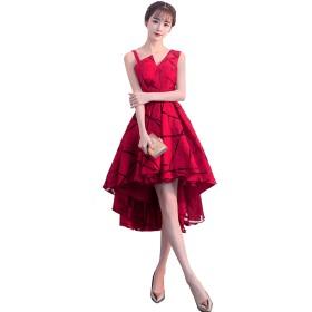 「小丸子の花轮クン」レディース ワンピース ドレス 刺繍レース フィッシュテール 結婚式 パーティー (XXL, レッド)