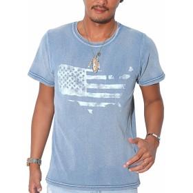 LUX STYLE(ラグスタイル)Tシャツ メンズ カットデニム 星条旗 プリント 半袖 pm-6322 サックスL