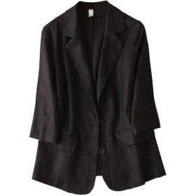 IXIMO レディース ジャケット テーラードジャケット 無地 麻 パッチワーク カジュアル 二つボタン 薄め きれいめ ショート コート 黒 M