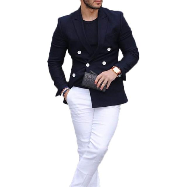 Lilis メンズダブルブレストボタンビジネスピークラペルツーピーススーツ