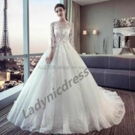 ウェディングドレス/ステージ衣装 見事なアップリケチュールAラインウェディングドレスホワイト/アイボリー3/4スリーブブライダルドレス