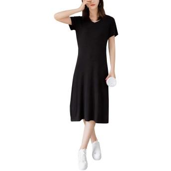 Ninkisann ワンピース とろみ素材 ゆったり ひざ下 Tシャツ レディース Tワンピ ルームウェア 半袖 春 夏ドレス