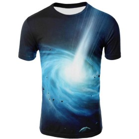 ACHICOO Tシャツ シャツ メンズ レディース ファッション 3D Starry Printing 半袖 プリント 印刷 カジュアル プルオーバー スリム スポーツ ファッショナブル ギフト トプッス 白 L