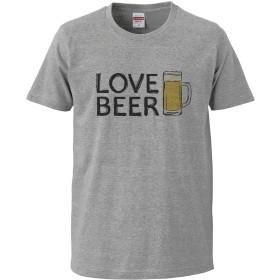 [Chara Park] ビール好き LOVE BEER BIGプリント プリントTシャツ ユニセックス L グレー