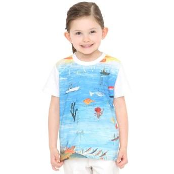 (グラニフ) graniph コラボレーション キッズ Tシャツ たいようオルガン海 (荒井良二) (ホワイト) キッズ 120 (g28) #おそろいコーデ
