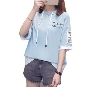 PIITE パーカー レディース 夏服 学生tシャツ ゆったり トップス カジュアル 学生Tシャツ スポーツ フードパーカー ゆったり 韓国パーカー バイカラー ストリート系ブルー9