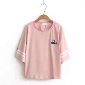 Tシャツ トレーナー トップス 無地 丸首 長袖 猫柄 刺繍 柔らかい コットン ボーダー ゆったり 薄地 カジュアル 可愛い (ピンク)