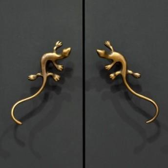 ドアハンドル ヤモリ型 アンティーク風 真鍮製 取っ手 オブジェ アジアン DIY 付け替え バリ雑貨