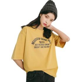 JHIJSC レディース Tシャツ 半袖 ゆったり トップス Tシャツ 五分丈 無地 シンプル 綿100% 夏 ファション 可愛い 通勤 通学 (イエロー)