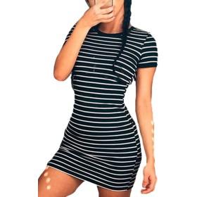 YACUN 女性のカジュアル半袖ストライプシャツ×ミニ・ドレス Black L