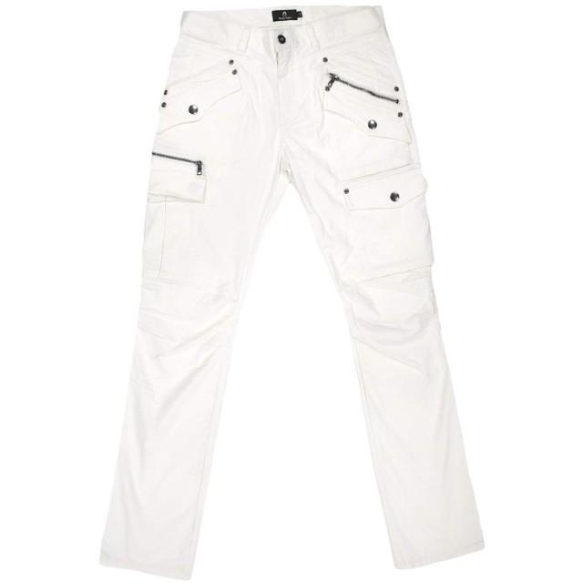 カーゴパンツ ストレッチ ポケット メンズ ファスナー ブッシュパンツ 無地 ボトムス ホワイト白 482201 M