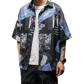 DeBangNiシャツ 夏服 メンズ 半袖 シャツ 花柄 スタイリッシュ ワイシャツ カジュアル ファッション メンズ yシャツ 薄手 通気 薄手 ゆったり シャツ 5分袖 ハンサム カッコイイブラックN8