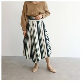 【オゾック/OZOC】 [洗える]マルチストライプ切替フレアスカート