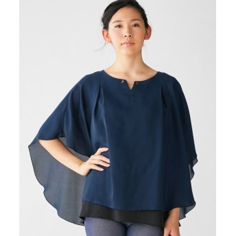 タテヨコに伸びる。ポンチョ風キーネックブラウス (大きいサイズレディース) plus size shirts, 衫, 襯衫