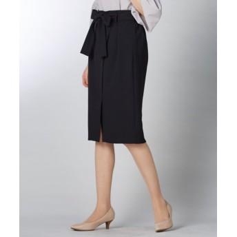 【ジャージーシリーズ】カットソーラップ風タイトスカート(サッシュベルト付)(セットアップ対応) (ひざ丈スカート)Skirts, 裙子