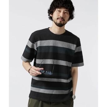 【ナノ・ユニバース/nano・universe】 ジャガードランダムボーダークルーネックTシャツ