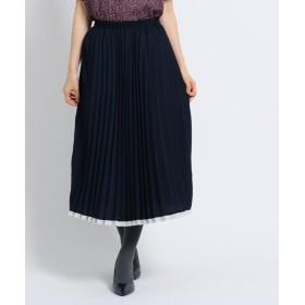 スーナウーナ アコーディオンプリーツスカート レディース ネイビー(593) 40(L) 【SunaUna】