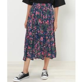 【ダブルネーム/DOUBLE NAME】 花柄イレヘムプリーツスカート