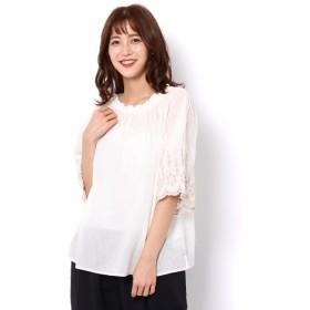 【サマンサモスモス/Samansa Mos2】 袖刺繍スカラップブラウス