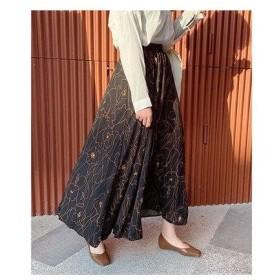 チュクラ chuclla 柄スカート 総柄 花柄 ロングスカート (ブラック)