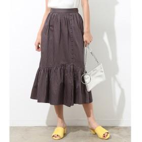 【ロペ マドモアゼル/ROPE madmoiselle】 マルチストライプペプラムギャザースカート