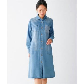 綿100%デザインデニムワンピース (大きいサイズレディース)ワンピース, plus size dress, 衣裙, 連衣裙
