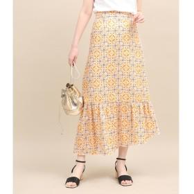 【ロペ マドモアゼル/ROPE madmoiselle】 【セットアップ対応】モザイクパターンアシメスカート