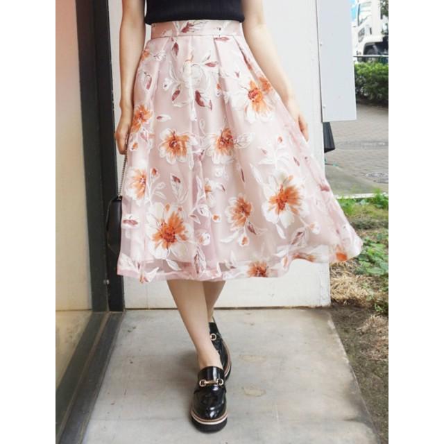 [MERCURYDUO]オパールBigフラワーフレアスカート