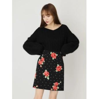 【セシルマクビー/CECIL McBEE】 ドットフラワータイトスカート