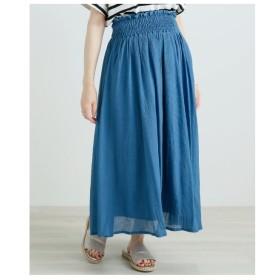 レイカズン Ray Cassin KST 楊柳ウエストゴムシャーリングスカート (ブルー)