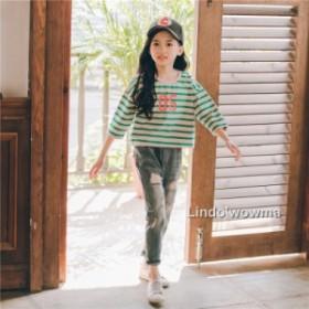 新作 通学 子供服 秋 長袖シャツ 女の子 デニムパンツ  スイート 上品 ゆったり可愛い きれいめ