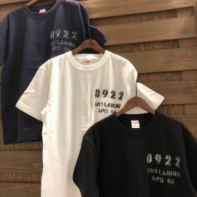 『【MM-045】ネイビー/Mサイズ』MAKAHA/マカハ ヘンリーネック リメイクステンシルTシャツ